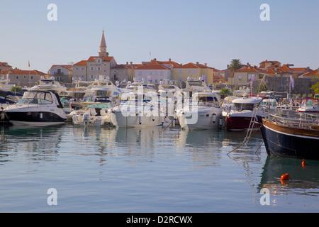 Budva Old Town and Harbour, Budva Bay, Montenegro, Europe - Stock Photo