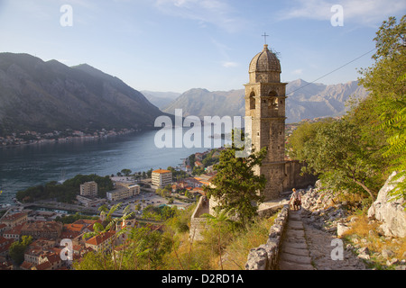 Chapel of Our Lady of Salvation and view over Old Town, Kotor, UNESCO World Heritage Site, Montenegro, Europe - Stock Photo