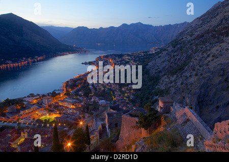 View of Bay of Kotor from Fortress at dusk, Kotor, UNESCO World Heritage Site, Montenegro, Europe - Stock Photo