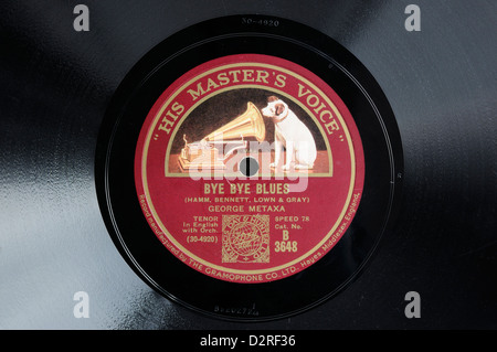 A 78 record with 'His Master's Voice' label - Stock Photo