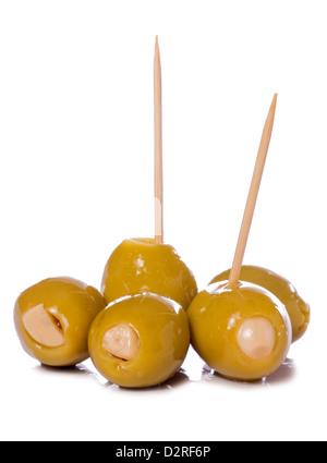Green Garlic olives studio cutout - Stock Photo