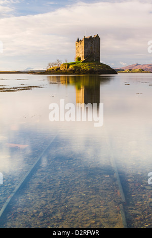 Castle Stalker, a four-storey tower house on Loch Laich in Argyll west of the Scottish Highlands, Scotland - Stock Photo