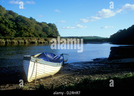 A small boat moored at Cothele Quay, on the River Tamar, near St Dominick, Cornwall, England, UK - Stock Photo