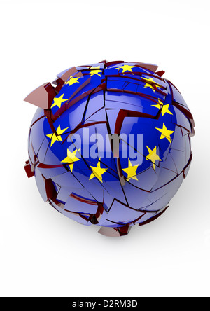 EUROPEAN UNION cracking and crumbling - Concept image - White background - Stock Photo