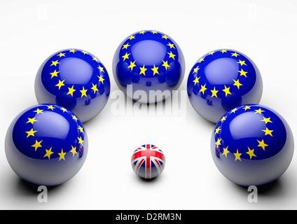 Large European Union Flag spheres crowding around a smaller British Union Flag sphere - Concept image - White background - Stock Photo
