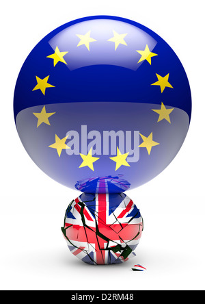 United Kingdom Crushed by the European Union. Brexit Concept. White Background Cutout - Stock Photo