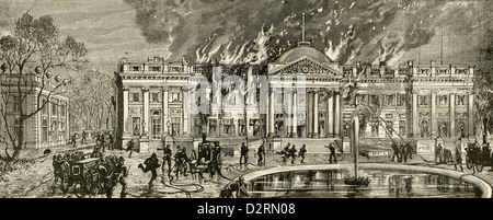 1890 engraving, Burning of the Royal Belgian Palace at Laeken, Near Brussels. - Stock Photo