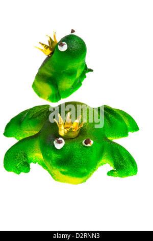 Little Marzipan Figure Green Frog King Lucky Charm Symbol Stock
