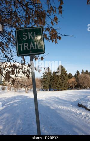 cross country skiing ski trail in kinsmen park Saskatoon Saskatchewan Canada - Stock Photo