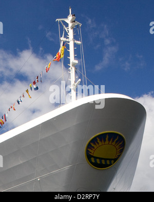 Prow of the P&O cruise ship Aurora, dressed overall with signal flag bunting - Stock Photo