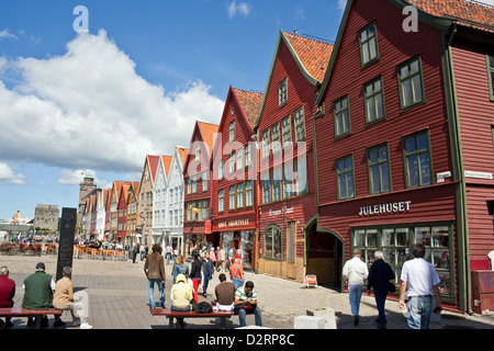 Medieaval buildings in the World Heritage site of Bryggen in Bergen, Norway - Stock Photo