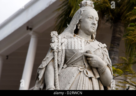 queen victoria statue, government house, port louis, mauritius - Stock Photo