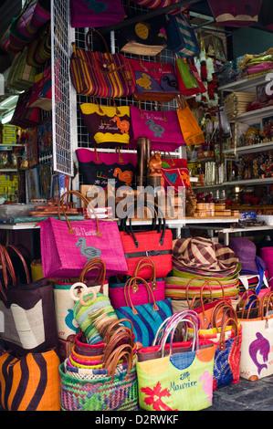souvenir stall, central market, port louis, mauritius - Stock Photo