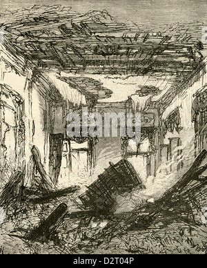 1890 engraving, Belgium - The Destruction of the Royal Palace at Laeken. The King's Private Room. - Stock Photo