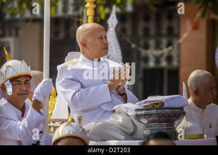 Phnom Penh, Cambodia. 1st February 2013.  A son of former Cambodian King Norodom Sihanouk during the funeral procession - Stock Photo