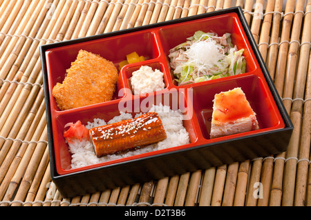Japanese Bento Lunch .box of fast food with smoked eel - Stock Photo