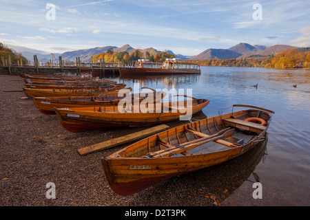 Rowing boats at Lakeside Landing on Derwentwater, Keswick, Lake District National Park, Cumbria, England, United - Stock Photo