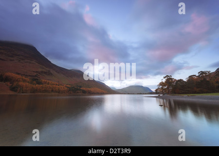 Buttermere at dusk, Lake District National Park, Cumbria, England, United Kingdom, Europe