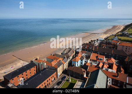 The Beach from St. Peter and St. Paul Church Tower, Cromer, Norfolk, England, United Kingdom, Europe - Stock Photo