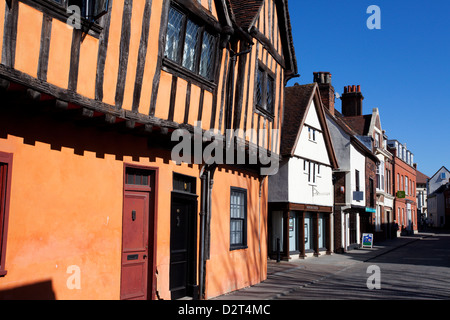 Half timbered buildings on Silent Street, Ipswich, Suffolk, England, United Kingdom, Europe - Stock Photo