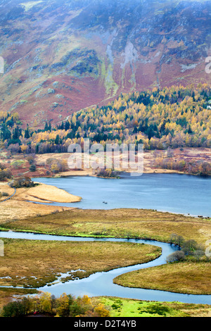 Derwentwater and the Slopes of Catbells from Surprise View in Ashness Woods, Lake District National Park, Cumbria, - Stock Photo