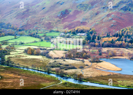 Borrowdale in autumn from Surprise View in Ashness Woods near Grange, Lake District National Park, Cumbria, England, UK