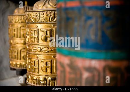 Buddhist prayer wheels, Namche Gompa (Monastery), Namche Bazaar, Solu Khumbu Region, Nepal, Asia - Stock Photo