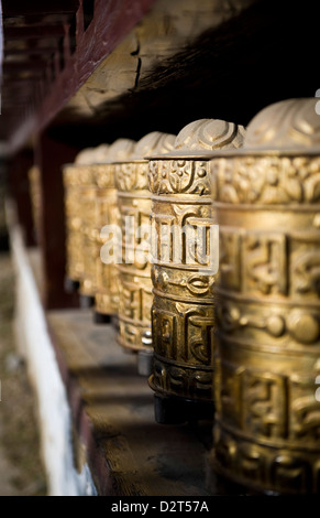 Buddhist prayer wheels, Namche Gompa (Monastery), Namche Bazaar, Solu Khumbu Region, Nepal, Himalayas, Asia - Stock Photo