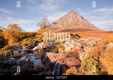 Buachaille Etive Mor mountain and the river Etive on the corner of Glencoe and Glen Etive, Highlands, Scotland, - Stock Photo