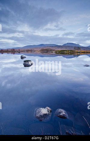 Loch Ba on Rannoch Moor at dusk, a Site of Special Scientific Interest, Perth and Kinross, Highlands, Scotland, UK