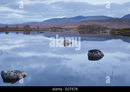 Loch Ba on Rannoch Moor at dusk, a Site of Special Scientific Interest, Perth and Kinross, Highlands, Scotland, - Stock Photo