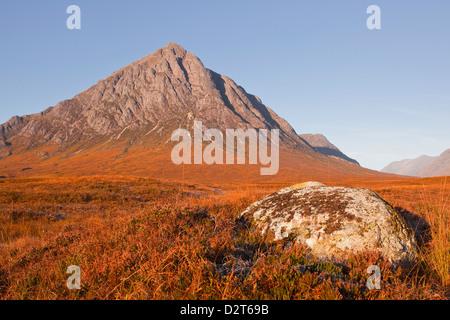 Buachaille Etive Mor mountain on the edge of Glencoe and Glen Etive, Highlands, Scotland, United Kingdom, Europe - Stock Photo