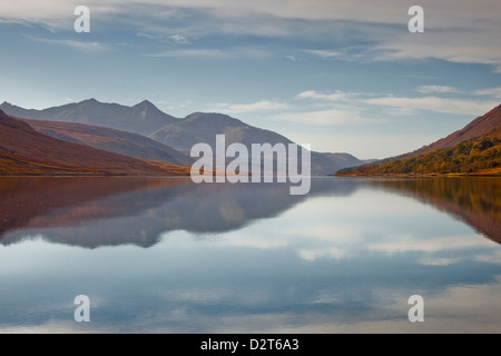 The waters of Loch Etive reflecting the surrounding mountains, Argyll and Bute, Scotland, United Kingdom, Europe - Stock Photo