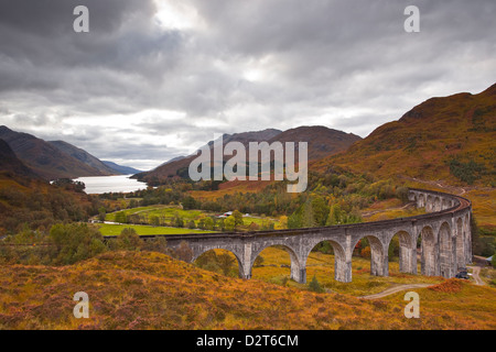 The magnificent Glenfinnan Viaduct in the Scottish Highlands, Argyll and Bute, Scotland, United Kingdom, Europe - Stock Photo