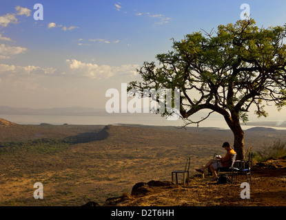 Overlooking the lower grasslands of Ethiopia's Nechisar National Park, Ethiopia, Africa - Stock Photo