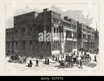 GLIMPSES OF THE ARCHITECTURAL PROGRESS OF NEW YORK CITY. THE VANDERBILT PALACES ON FIFTH AVENUE - Stock Photo