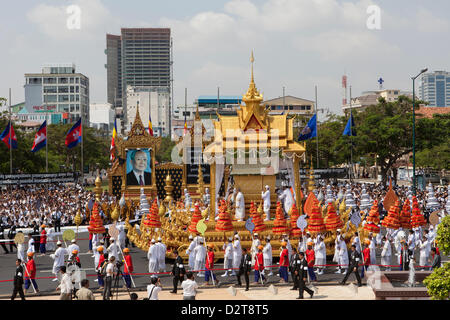 Phnom Penh, Cambodia. 1st February 2013. Funeral of King Norodom Sihanouk, who died in October. Credit:  Combre - Stock Photo