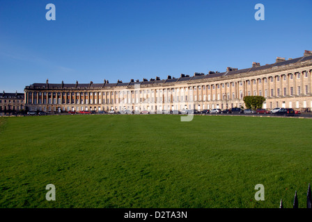 Royal Crescent perfect Georgian architecture from 18th Century in Bath, UK - Stock Photo