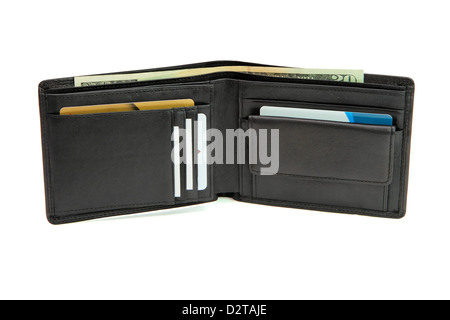 Open black wallet with business cards and dollars isolated - Stock Photo