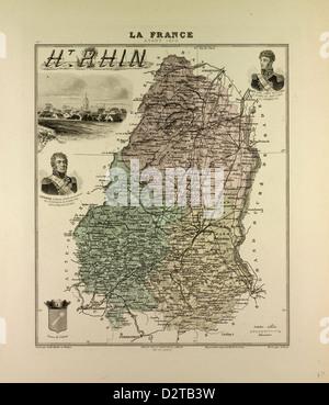 MAP OF HAUTE RHIN 1896 FRANCE - Stock Photo