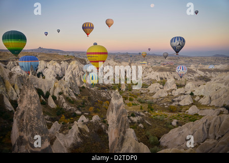 Many hot air balloons over the Red Valley Cappadocia Turkey at dawn with moon - Stock Photo
