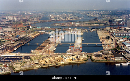 Rare aerial view of Docklands & West India Dock before Canary Wharf development in East London - June 1986. - Stock Photo
