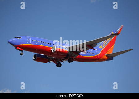 Southwest Airlines Boeing 737-7BX lands at Los Angeles Airport on January 28, 2013. - Stock Photo
