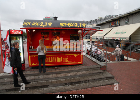 Gdansk, Poland, hot dog stand on the square in front of the main station - Stock Photo