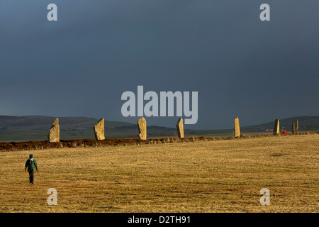 The Ring of Brodgar, a neolithic stone circle on mainland Orkney, Scotland. - Stock Photo