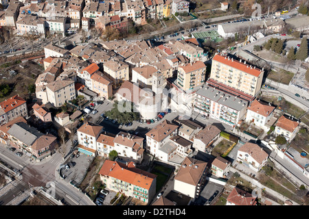 PUGET-THENIERS (aerial view). Small town in the Var Valley in the French Riviera's backcountry, Alpes-Maritimes, - Stock Photo