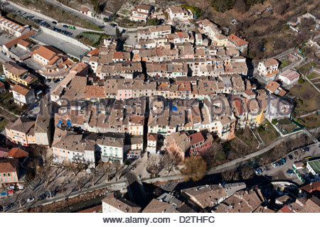 OLD TOWN (aerial view). Puget-Theniers, French Riviera's backcountry, France. - Stock Photo