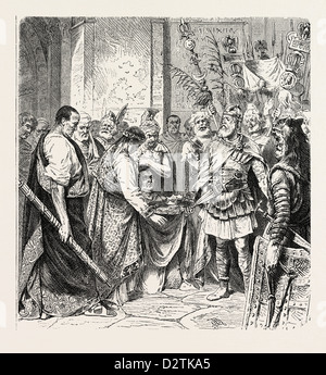 AUGUSTULUS THE LAST ROMAN EMPEROR SURRENDERS TO ODOACER. - Stock Photo
