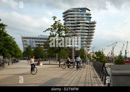 Hamburg, Germany, Marco Polo Tower and the Unilever building in HafenCity - Stock Photo
