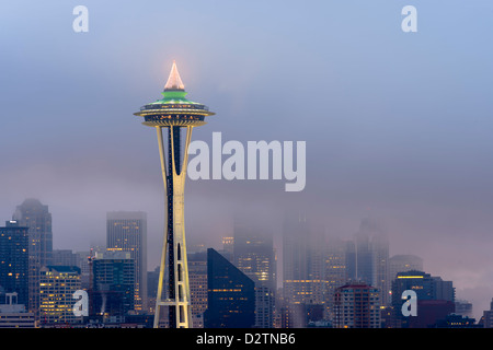 Space Needle at dawn viewed from Kerry Park, Seattle, Washington, USA - Stock Photo